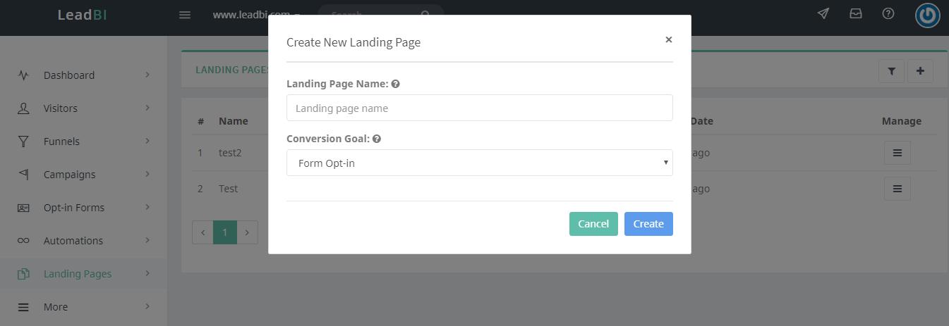 Landing Page LeadBI